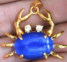 Fashion Deep Blue Opal Yellow Gold Plated Crystal Crab Pendant & Necklace 18KGP