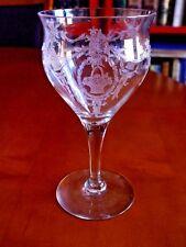 VINTAGE OPTIC GLASS GOBLETS STEMWARE ETCHED ROSE BASKETS SET OF 6