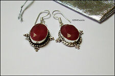 Superbe Paire Boucles Oreille ARGENT 925 RUBIS Rouges Cherry Ruby