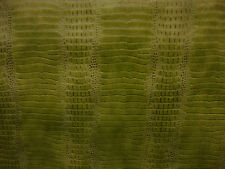 Lime fake Leather vinyl Crocodile Nile embossed Faux upholstery fabric