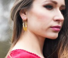 Ottomangems Earrings 21ct Gold Plated Filigree Turkish Basket Hoop Handmade