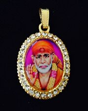 Shirdi Shree Sai Baba Locket/Pendant with White Stone & Gold Polish USA Seller