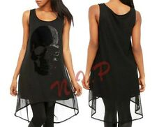 Hot Topic Visual Kei Punk Gothic Cyber Steampunk Black Flocked Skull Tunic Dress