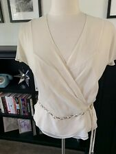 Vintage Women's Sheer Ivory Top With Satin & Rhinestone Ties Size L/Xl
