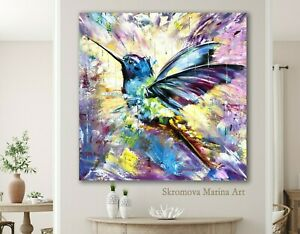 Hummingbird Art Floral Abstract Painting Canvas Wall Art Print Poster Oil Bird