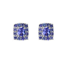 Ivy Gems Sterling Silver Rectangular Tanzanite Cluster Earrings