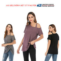 Womens Summer Cold Shoulder Loose Top Blouse Shirt Short Sleeve Tee Tops Blouse