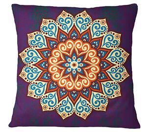 S4Sassy Purple Mandala Printed Sofa Cushion Cover Home Decorative-lCz