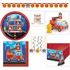 Firefighter Happy Birthday Disposable Paper Party Supplies Bundle Serves 16