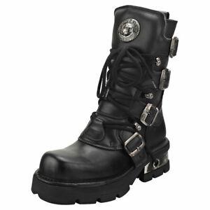 New Rock Block-heel In Metal-look Womens Black Platform Boots - 39 EU
