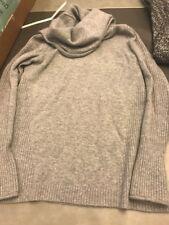 Athleta Cashmere Cascade Gray Grey Cowl Neck Sweater Women's Small S Ribbed