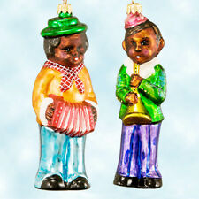 Radko Peach Beach Tree Boy Girl Ornament Boxet Set 2  South Accordion Horn 1997