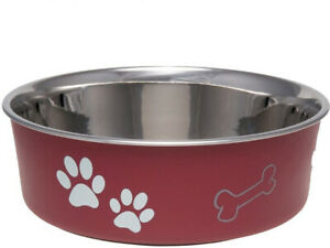 Loving Pets BELLA BOWL Stainless Steel Dog Feeder Bowl MERLOT