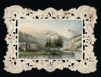 MOUNTAIN RIVER ABBEY LANDSCAPE Miniature Watercolour Painting - 19TH CENTURY