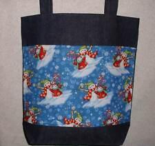 NEW Handmade Snowman Winter Christmas Large Tote Bag