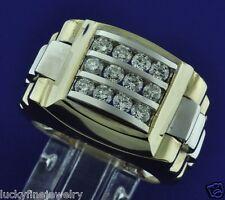 1.50 ct 14k 2 tone Gold Men's Natural Diamond Ring  Heavy  22.70 grams  3 rows