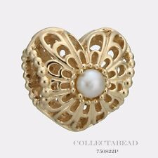 Authentic Pandora 14k Gold Vintage Heart With Pearl Bead 750822P