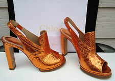 NEW $1095 Chloe Heels Copper Metallic 37 6.5 Snakeskin Slingback Leather Loafer