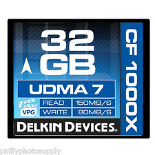Delkin 32GB CF Memory Card 1000X UDMA 7 80MB/S Write  ->Lifetime Warranty