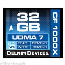 Delkin 32GB CF Memory Card 1000X UDMA 7 80MB/S Write  - Lifetime Warranty