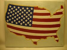 USA American Map Flag Acrylic Hand Painted on Stretched Canvas Made in the USA