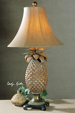 NEW HAND RUBBED BROWN GLAZED PINEAPPLE TABLE LAMP BRONZE ACCENTS OSTRICH SHADE