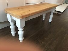 6ft Solid Wood Farmhouse Dining Bench Turned Legs