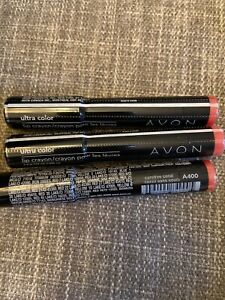 (3) NEW Avon Ultra Color Lip Crayon CAREFREE CORAL A400 Discontinued Retired