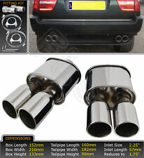 BMW X5 E53 DIESEL PETROL FREE FLOW T304  STAINLESS EXHAUST BACK BOX LMC-007-6x2
