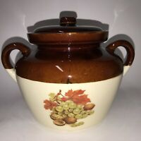 McCoy Pottery 342 Bean Pot Brown Drip Fruit Pattern Ovenproof Vtg Double Handle