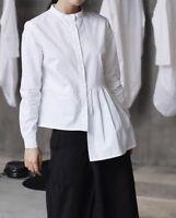 Japanese Designer Style Asymmetric Ruffle Draped Side White Long Sleeves Shirt