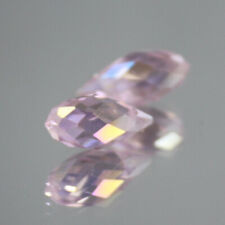 Crystal With Hole Teardrop Glass Beads New 10Pcs 6X12Mm Pink Oval Faceted Czech