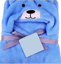Nursery Bedding Comfortable Microfiber Blue Color Hooded For Baby Blanket