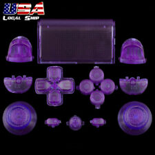 Clear Purple Full Set Buttons Thumbsticks Repair for Dualshock 4 PS4 Controller
