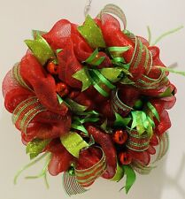 Handcrafted Christmas Red & Green Baubles & Ribbon Wreath For Door/Wall hanging