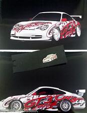 WERKSFOTO 2X PORSCHE MOTORSPORT 2002 SHOWCAR PORSCHE 911 GT3 CUP MIT PIN 911 GT3