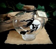 Hand Painted Heart Potion Bottle Flying Witch and Moon design Wiccan Pagan Altar