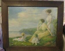 "ZULA KENYON  Antique Picture ""Life's Sweet Summertime"" 1911 Framed & Signed"