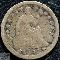 1854 Arrows, Seated Liberty Half Dime, Very Good Condition, Free Shipping, C5161