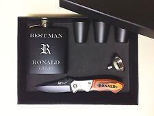 6 Personalized Groomsmen Gift Set box Custom Engraved pocket Knife Flask Bestman