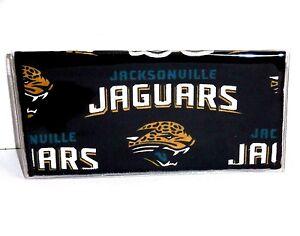 Checkbook Cover for Jacksonville Jaguars Black&Gold Cotton & Vinyl #19 Handmade