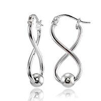 Sterling Silver Infinity Figure Eight Bead Drop Earrings