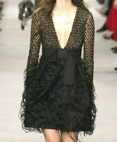 New Michael Kors Collection Feather Embroidered Black Sequin Dress IT 40 / US 4