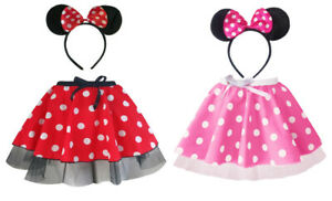 """Ladies MINI MOUSE Style Costume Fancy Dress - 12"""" length SKIRT AND EAR SET"""
