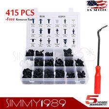 415PCS Plastic Rivets Fastener Fender Bumper Push Pin Clips Free Remover Tool