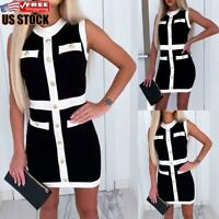 Womens Knitted Sweater Bodycon Mini Dress Ladies Sleeveless Party Jumper Dresses
