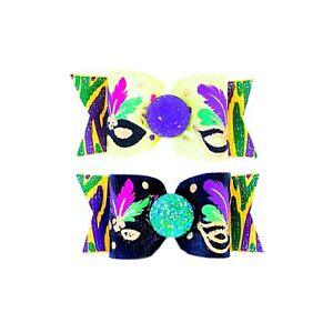 Dog Hair Bows- Mardi Gras Fleur De Lis Pet Bow Masks Masques Elastics Barrette