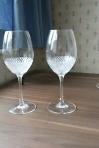 """2 Waterford Crystal """"Lume"""" Wine Glasses by John Rocha Super Condition 9"""" tall"""