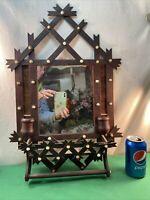 Vtg Antique Black Forest TRAMP ART Shaving Mirror Towel Rack Pearls Wood Frame