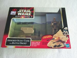 1999 Hasbro Star Wars Episode 1 Armored Scout Tank With Battle Droid NIP